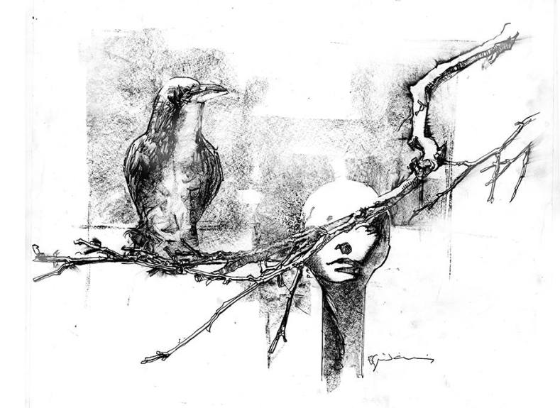 Raven and Woman Branch pencil